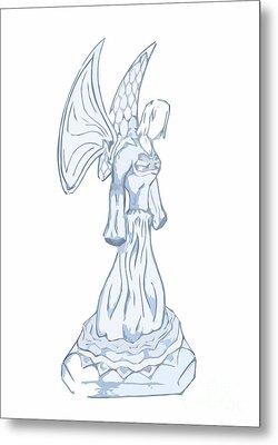 Light Blue Abstract Angel Drawing Metal Print