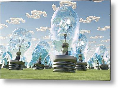 Light Bulb Heads And Dollar Symbol Clouds Metal Print