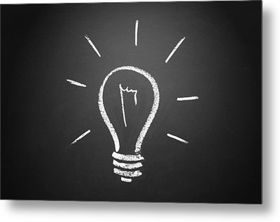Light Bulb On A Chalkboard Metal Print