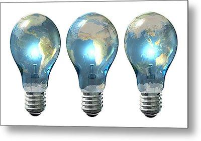 Light Bulb World Globe Series Metal Print
