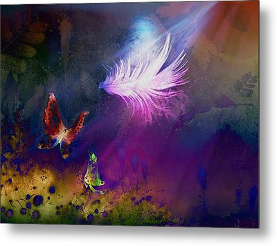 Metal Print featuring the painting Light Feather by Lilia D
