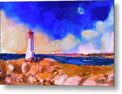 Metal Print featuring the painting Light House At Peggys Cove by Ted Azriel