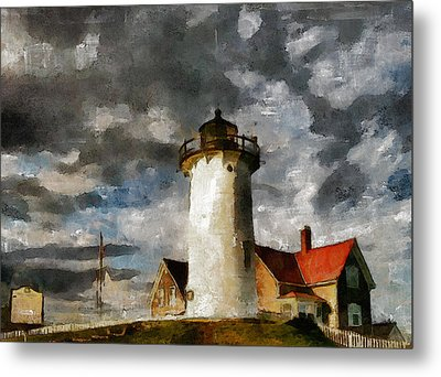 Light House In A Storm Metal Print