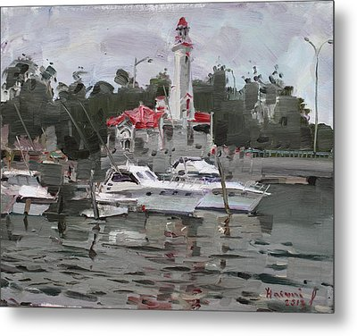 Light House In Mississauga On Metal Print by Ylli Haruni