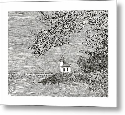 Light House On San Juan Island Lime Point Lighthouse Metal Print by Jack Pumphrey
