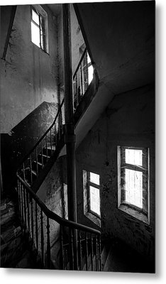 Light In The Dark Abandoned Staircase Metal Print