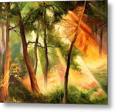 Light In The Forest Metal Print by Mikhail Savchenko
