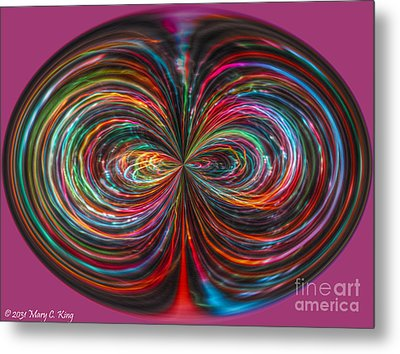 Light Painting Orb Metal Print