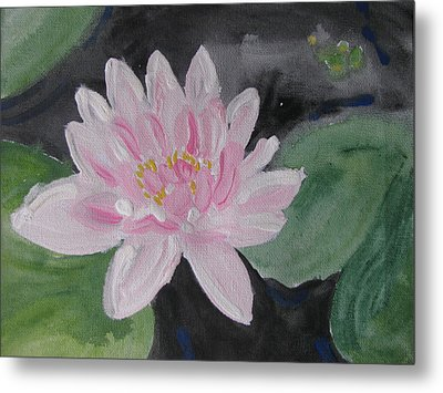 Metal Print featuring the painting Light Pink Water Lily by Vikram Singh