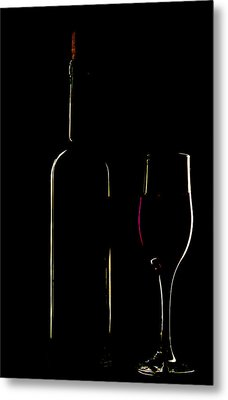 Light Silhouette Of Bottle And Wineglass Metal Print