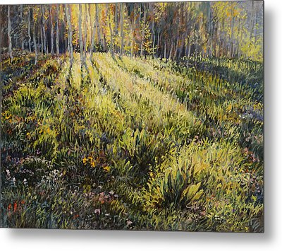 Metal Print featuring the painting Light Through The Aspens by Steve Spencer