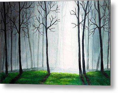 Light Through The Forest Metal Print by Nirdesha Munasinghe