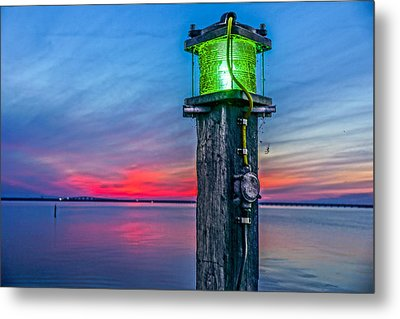 Metal Print featuring the photograph Light Tower In Evening Gloom by Alex Weinstein