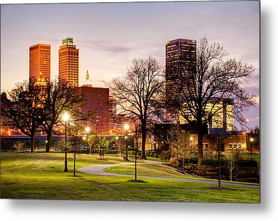 Lighted Walkway To The Tulsa Oklahoma Skyline Metal Print by Gregory Ballos