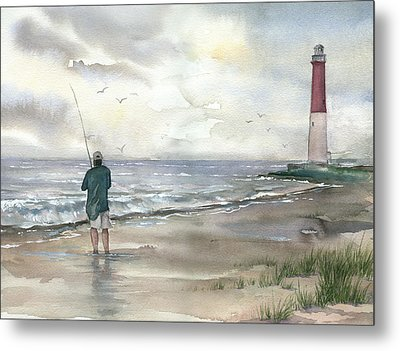 Lighthouse And Fisherman Metal Print by Beth Kantor