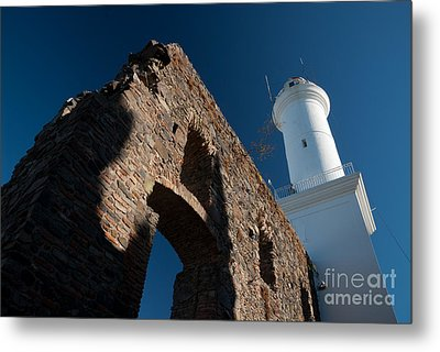 Lighthouse And Ruin Of The Convento De San Fransisco In Colonia - Uruguay Metal Print by OUAP Photography