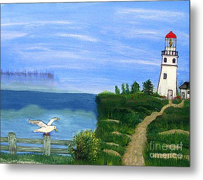 Lighthouse And Seagull 2 Metal Print
