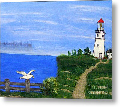 Lighthouse And Seagull  Metal Print by Mindy Bench