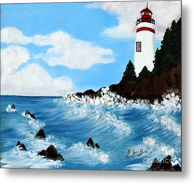 Lighthouse And Sunkers Metal Print by Barbara Griffin