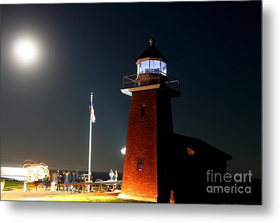 Metal Print featuring the photograph Lighthouse And The Full Moon by Theresa Ramos-DuVon