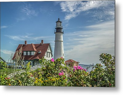 Lighthouse And Wild Roses Metal Print