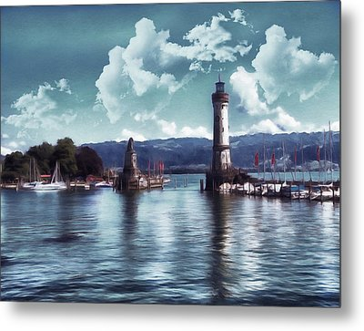 Lighthouse At Lindau Metal Print by Georgiana Romanovna