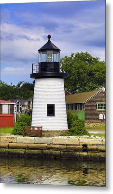 Lighthouse At Mystic Seaport Metal Print by John Hoey