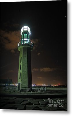 Metal Print featuring the photograph Lighthouse At Night by Mohamed Elkhamisy