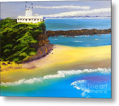 Metal Print featuring the painting Lighthouse At Nobbys Beach Newcastle Australia by Pamela  Meredith