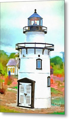 Lighthouse At Old Saybrook Point Metal Print by Edward Fielding