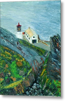 Lighthouse At Point Reyes California Metal Print