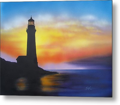 Lighthouse At Sunset Metal Print by Chris Fraser