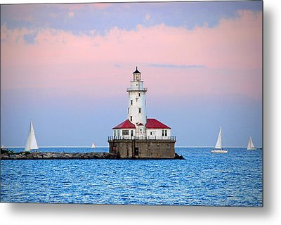 Lighthouse At The Navy Pier Metal Print by Lynn Bauer