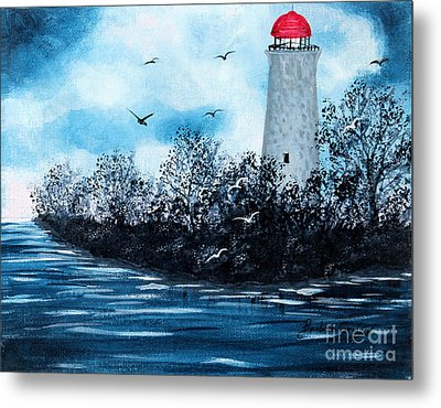 Lighthouse Blues Metal Print by Barbara Griffin