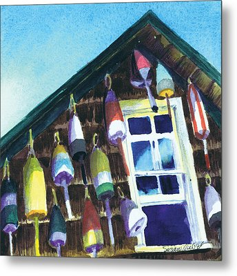 Metal Print featuring the painting Lighthouse Buoys Maine by Susan Herbst