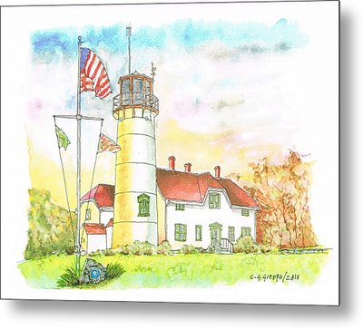 Lighthouse In Cape Code - Massachussetts Metal Print by Carlos G Groppa