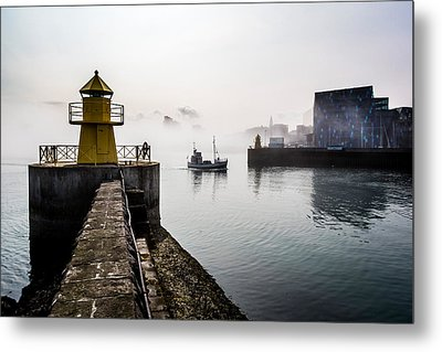 Lighthouse In Reykjavik Harbor, Harpa Metal Print by Panoramic Images