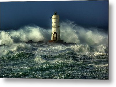Lighthouse In The Storm Metal Print by Gianfranco Weiss
