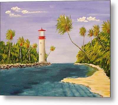 Lighthouse In The Tropics Metal Print