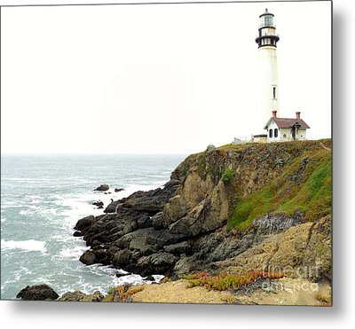 Lighthouse Keeping Watch Metal Print by Carla Carson