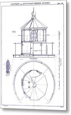 Lighthouse Lantern Lense Order Blueprint Metal Print by Jon Neidert