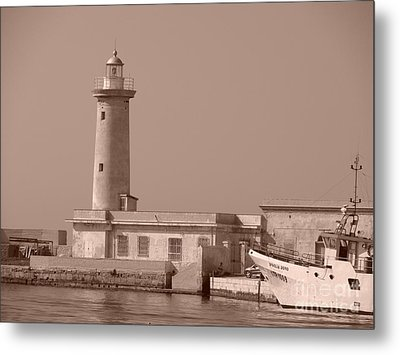 Lighthouse Marsala Metal Print