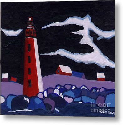 Metal Print featuring the painting Lighthouse Miniature by Joyce Gebauer