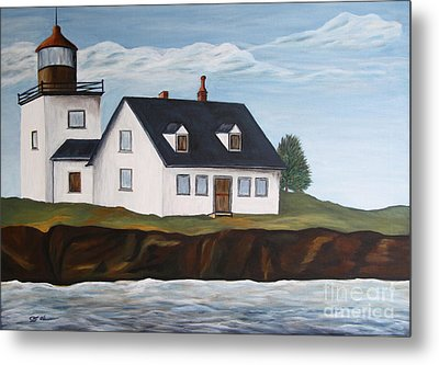 Lighthouse - New England Coast Sold Metal Print by Christiane Schulze Art And Photography