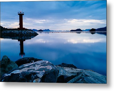 Lighthouse On Blue Metal Print