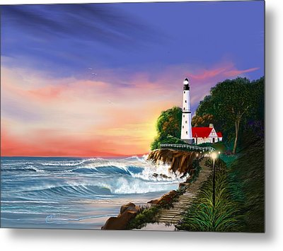 Lighthouse On The Cliff Metal Print by Anthony Fishburne