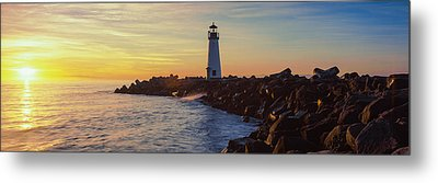 Lighthouse On The Coast At Dusk, Walton Metal Print by Panoramic Images