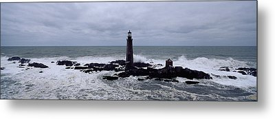Lighthouse On The Coast, Graves Light Metal Print by Panoramic Images