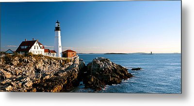 Lighthouse On The Coast, Portland Head Metal Print by Panoramic Images