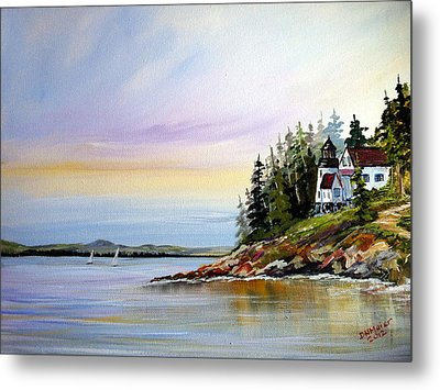Metal Print featuring the painting Lighthouse On The Island by Dorothy Maier